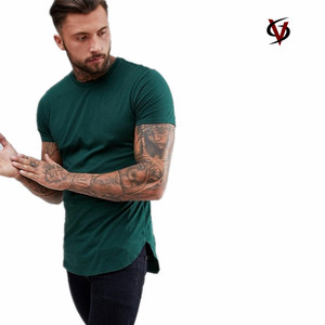 Mens Raglan tight fit short sleeve t shirt with curved hem