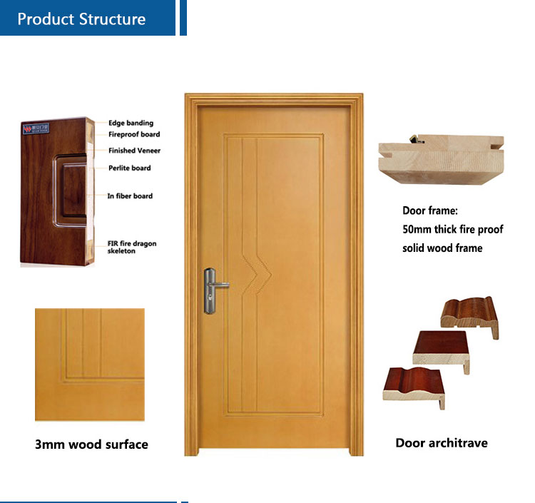 interior 2 hours fire rated residential fireproof wooden door(FD-VN-012)