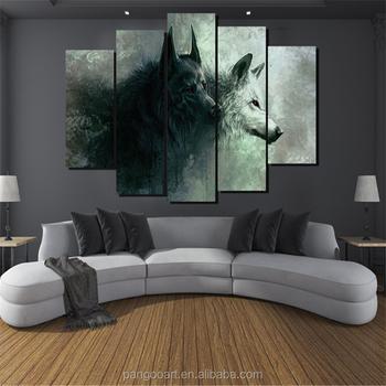 5 panelen hd gedrukt dier twee wolf slaapkamer schilderijen decor print poster foto canvas