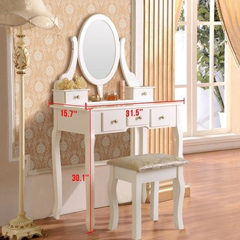 White Antique Vanity Dresser Table With Mirror French Clic Dressing And