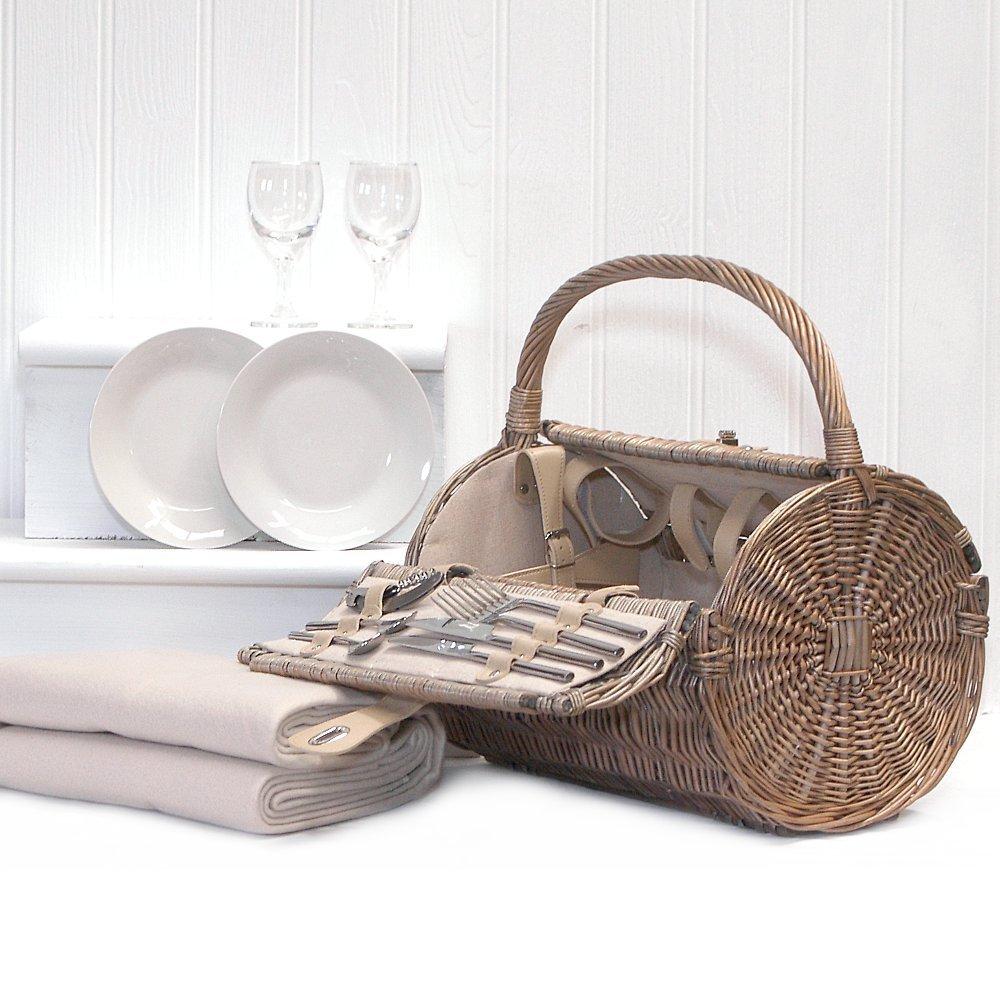 Fine Food Store Harrington Barrel 2 Person Picnic Basket Hamper & Cream Fleece Picnic Blanket