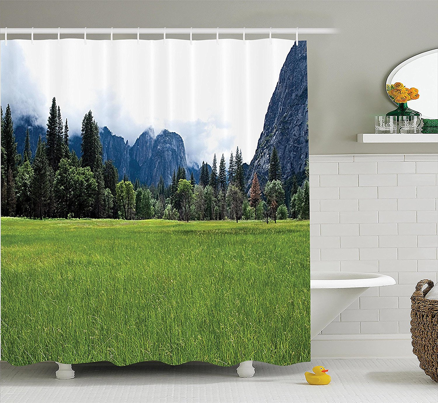 Ambesonne Apartment Decor Collection, Lushgreen Meadow in the Yosemite Valley With Trees Forest Mountain Cloudy Day Photo, Polyester Fabric Bathroom Shower Curtain Set with Hooks, Green Grey