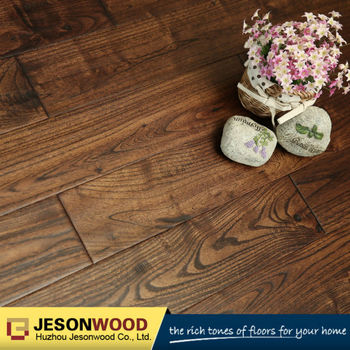 Solid Chinese Teak Golden Handsed Hardwood Flooring Mocha Color