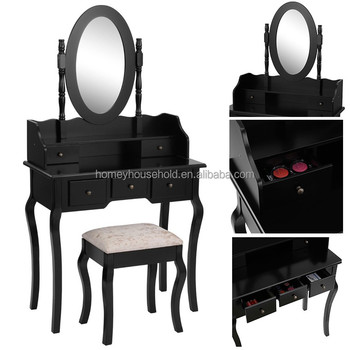 Vintage Madera Conjunto Completo Espejo Taburete Negro Tocador Para ...