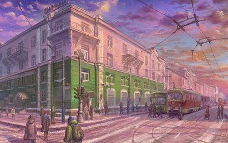 city art street intersection pedestrians winter tram Home Decoration Canvas Poster