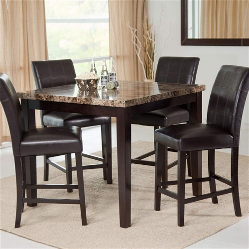 CHOOSEandBUY Counter Height 5-Piece Dining Set with Faux Marble Top Table and 4 Faux Leather Chairs New Sturdy Classic Elegant Furniture