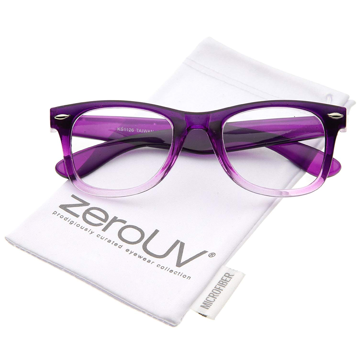 9e7faadc986 Get Quotations · zeroUV - Classic Thick Square Clear Lens Horn Rimmed  Eyeglasses 50mm