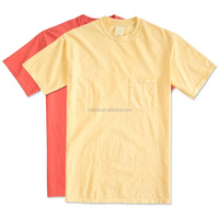 Design Your Own T Shirt, Men's 100% Pre-shrunk Ringspun Pigment Dyed Cotton Pocket Bulk Wholesale T Shirts Made In China