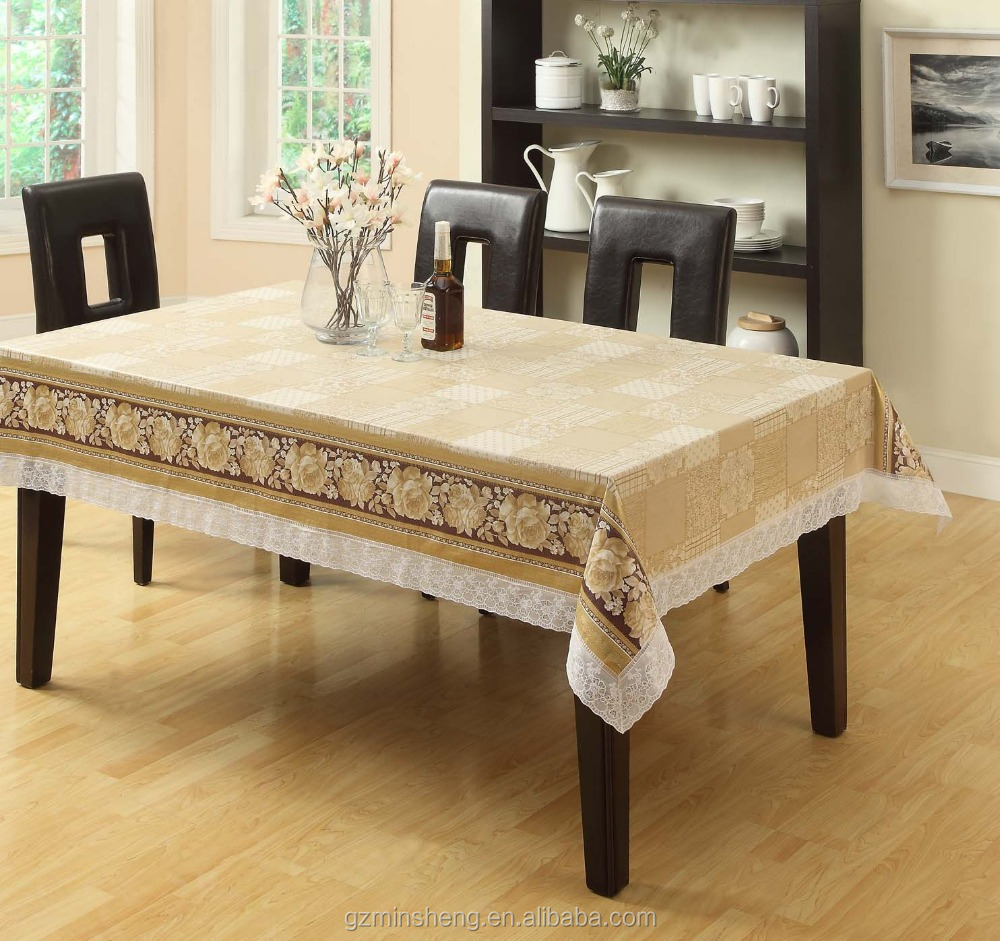 Embossed Vinyl Flannel White Lace Table Cloths