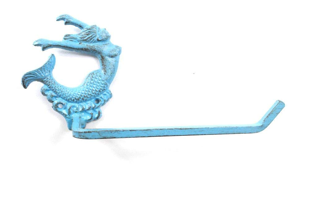 Handcrafted Nautical Decor Rustic Light Blue Cast Iron Decorative Arching Mermaid Toilet Paper Holder 11""