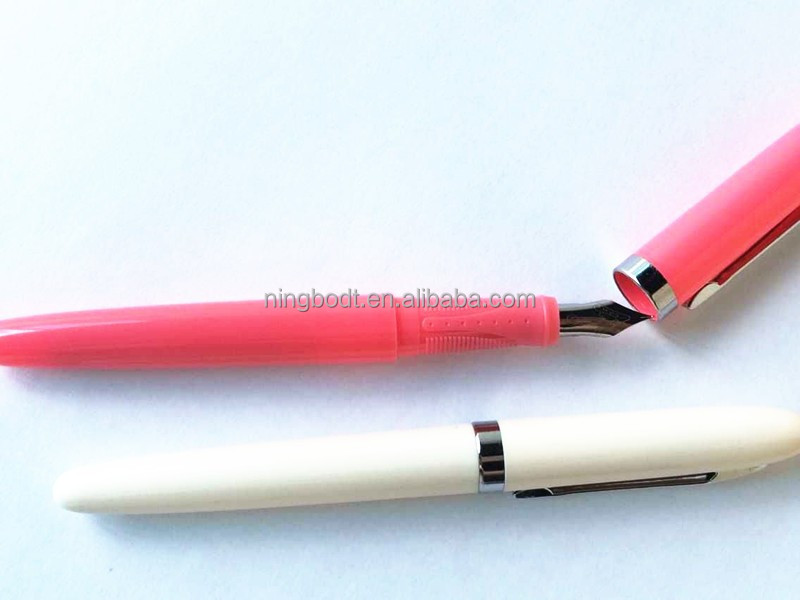 Plastic fountain pens with stainless steel clips
