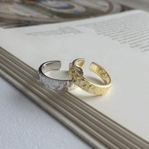 K765 Top Quality 18K Gold Rings 925 Sterling Silver Concave Surface Women Rings Fashion