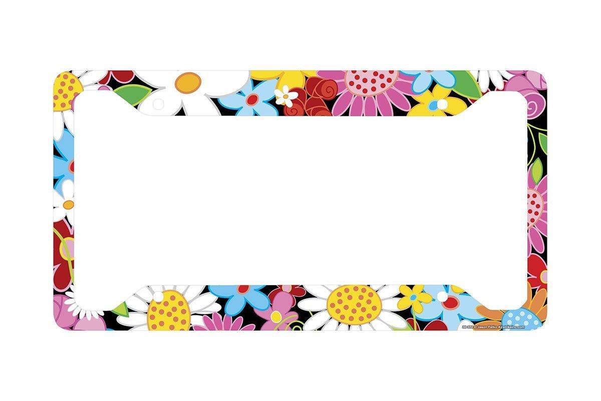 "Airstrike Flower License Plate Frame, Flower License Plate Holder, Flower Car Tag Frame ""Flower Power""-30-372"