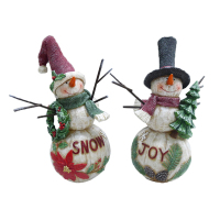 Christmas Snowman Statue Resin Outdoor Holiday Decoration