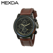 High quality 10 ATM Genuine Leather stainless steel watch case 316l chronograph