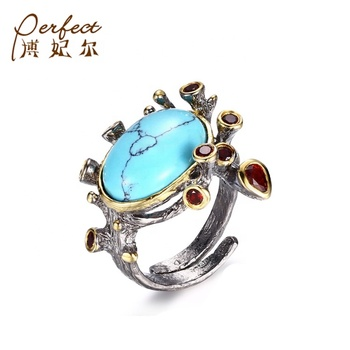 Handmade Gemstone Turquoise 925 Sterling Silver Adjustable Open Ring