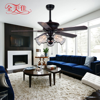 New Design Antique 6 Speed 48'' Remote Control Glass Lampshade 220V Inverter Ceiling Fan
