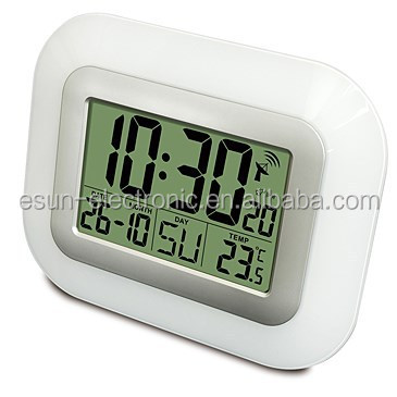 Fashion simple operation automatic Jumbo LCD Atomic Digital Wall alarm Clock radio controlled weather station desk alarm clock