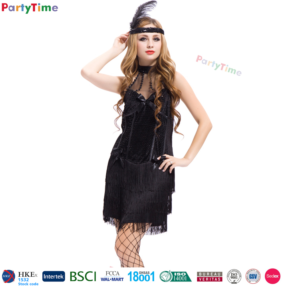 one piece carnival costumes adult sexy fantasy black hollywood flapper party costume for halloween