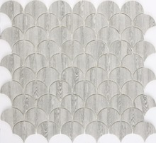 Wholesale recycled glass fish scale mosaic tile