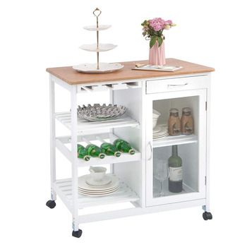 Kitchen Island Portable Storage Trolley Cart With Drawers Bamboo