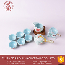 light blue color chinese ceramic tea set 10pcs