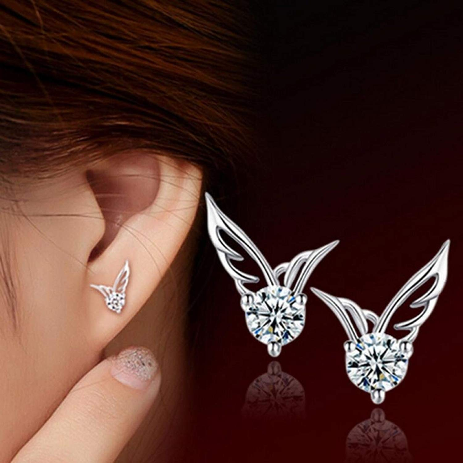 Gyoume 1Pair Stud Earrings Sterling Silver Angel Wings Earrings Ear Jewelry Gift for Women Girls