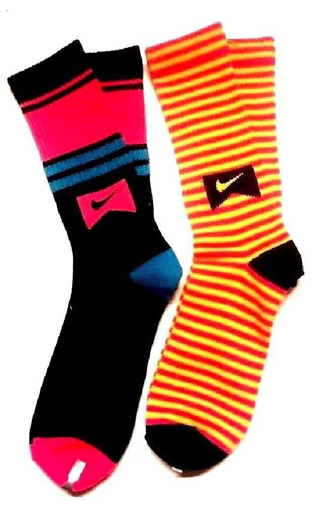 Nike 2 Pairs/Pack Girls Crew Socks, Youth, Black/Pink/Orange, 3Y-5Y