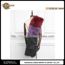 Luxury Autumn Winter Genuine Multi-colored 100% Raccoon Fur Trim Collar