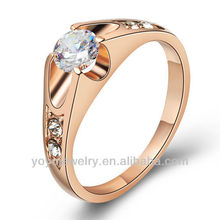 High quality female jewelry metal single stone ladies finger gold ring design