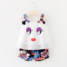 2 pcs. Big Eyes Toddlers Children Newborn Baby Girls outfit T-Shirt Tops + Shorts Set