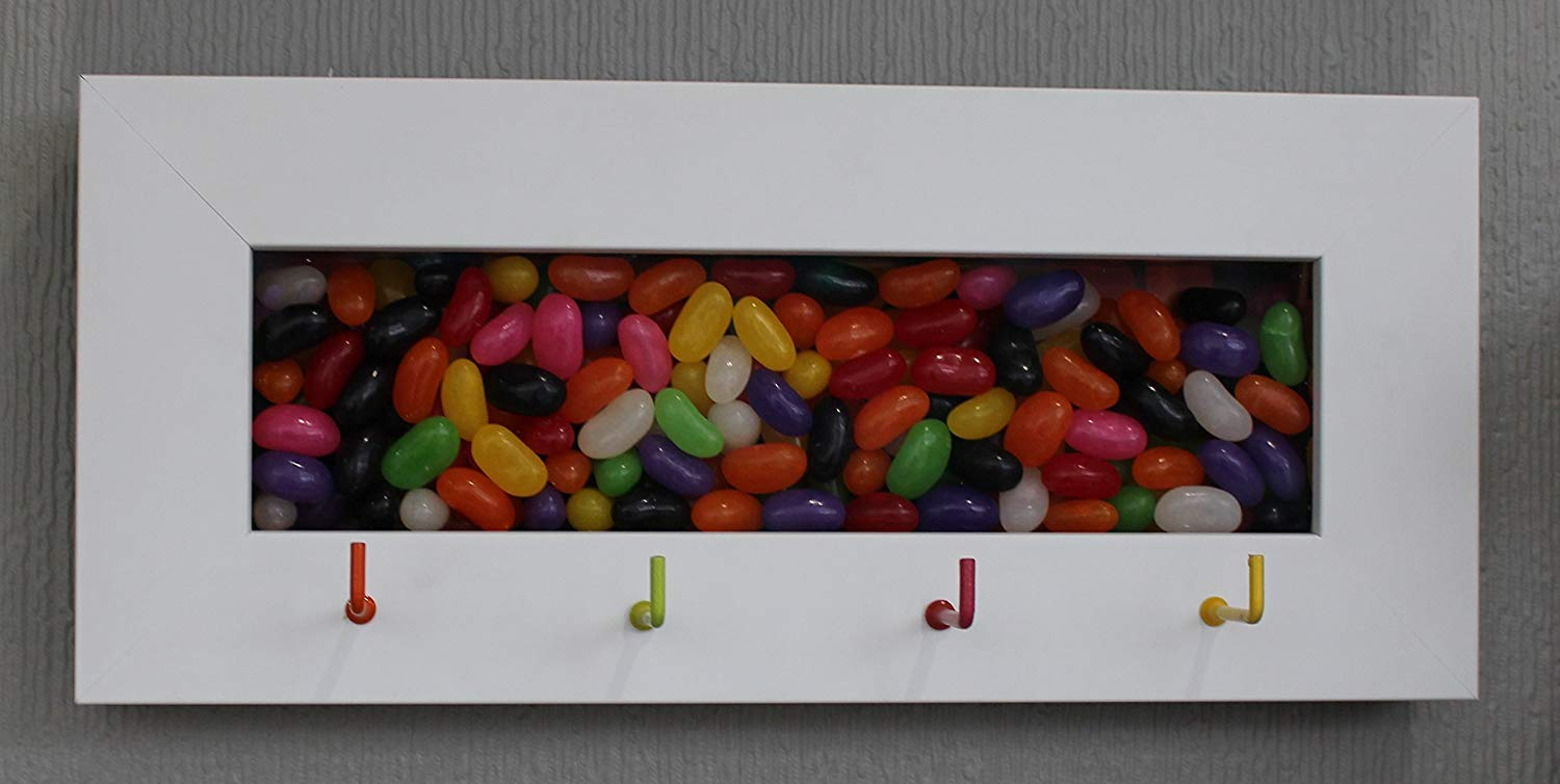 Jelly Bean Shadow Box, Teen Jewelry Holder, Framed Key Holder, White Shadow Box Display Case, House Warming Gift, DIY box, Hidden Compartment Case, Key Hook