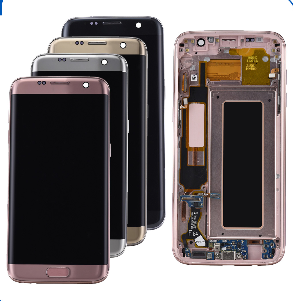 Lcd display For Samsung Galaxy S7 edge with frame, Black/white/gold/pink