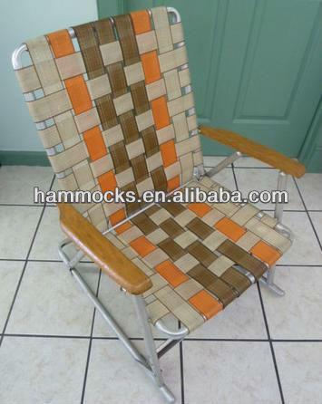 vintage aluminum folding webbed lawn chair rocker brown w orange - Folding Lawn Chairs On Sale