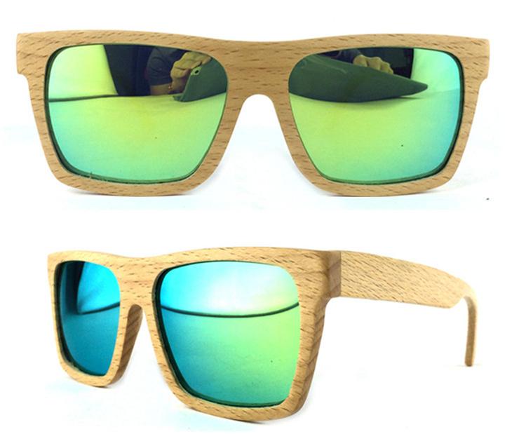 49ab08a01f4fe Armação de faia Lentes polarizados espelhado Verde masculino grande  Quadrado Oculos de sol ...