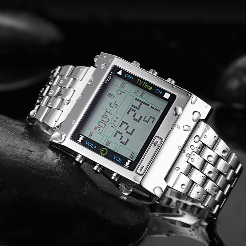 TVG TV2011 Men Digital Movement Watch Casual Multi-function Stainless Steel Band Watch Alarm Back Light
