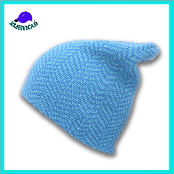Wholesale Winter hot sale promotion 100% cotton knitted blue running beanie hat