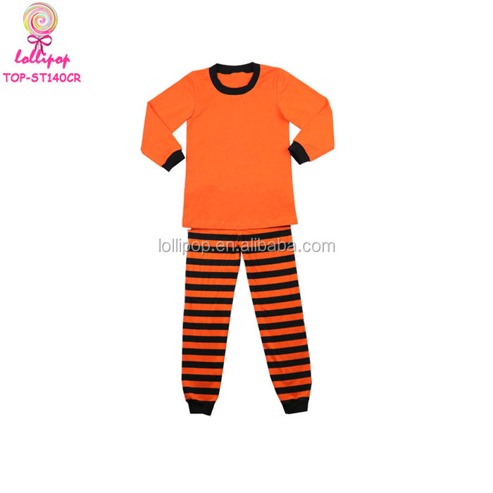 Children Apparel Cotton Knit Fabric Clothing Kids Pajamas Orange Black Striped Baby Winter Blank Halloween Pajamas