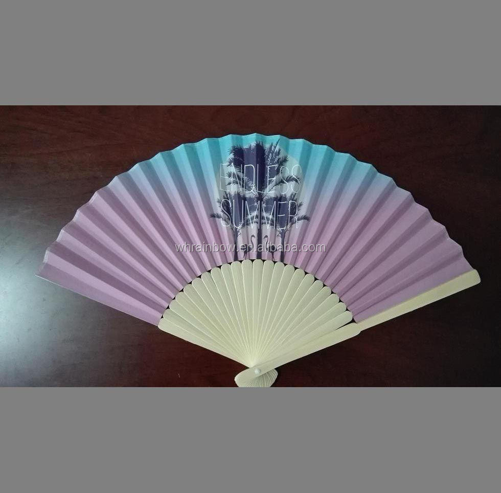 bamboo handheld fan with paper or silk fabric