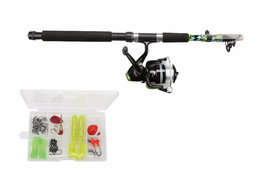 165cm 5 sections fiber glass telescopic fishing rod reel combo with non slip EVA grip