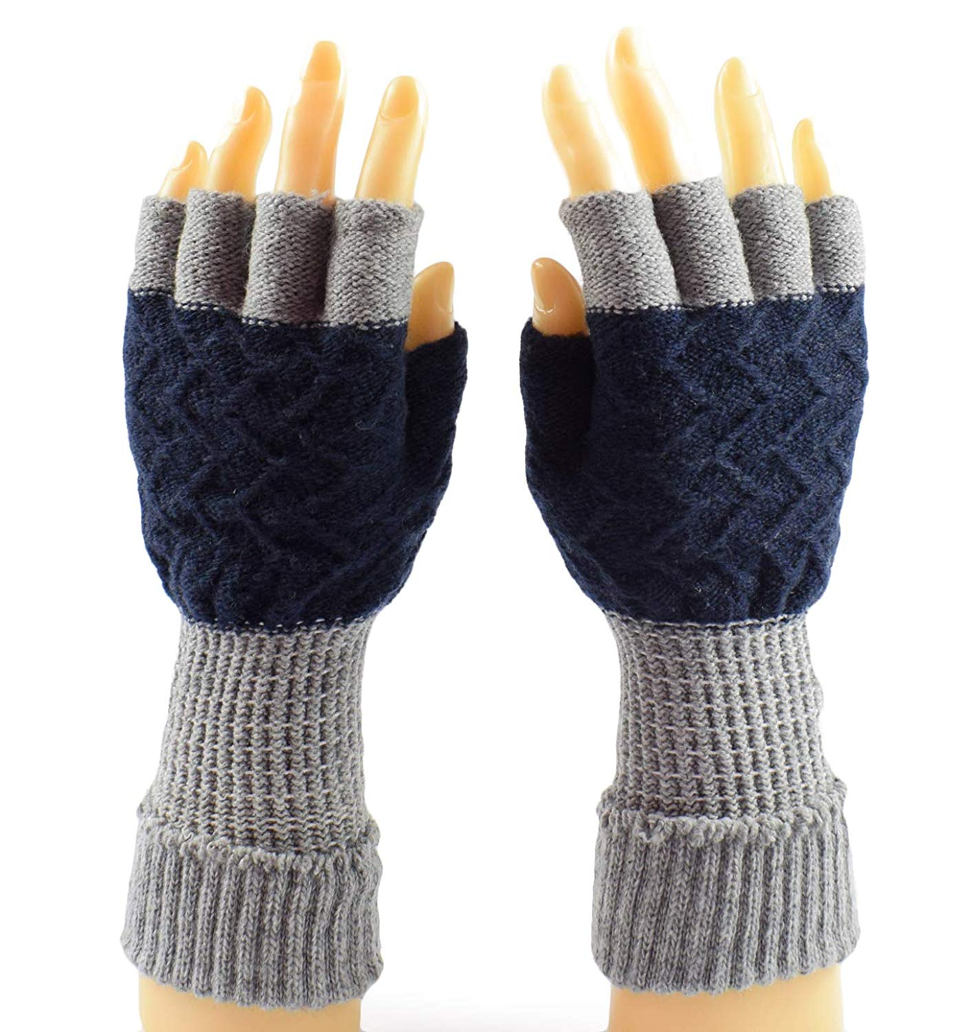 e243420e0db Get Quotations · Mens Knit Fingerless Gloves Soft Winter Wrist Gloves Warm  Driving Half Gloves