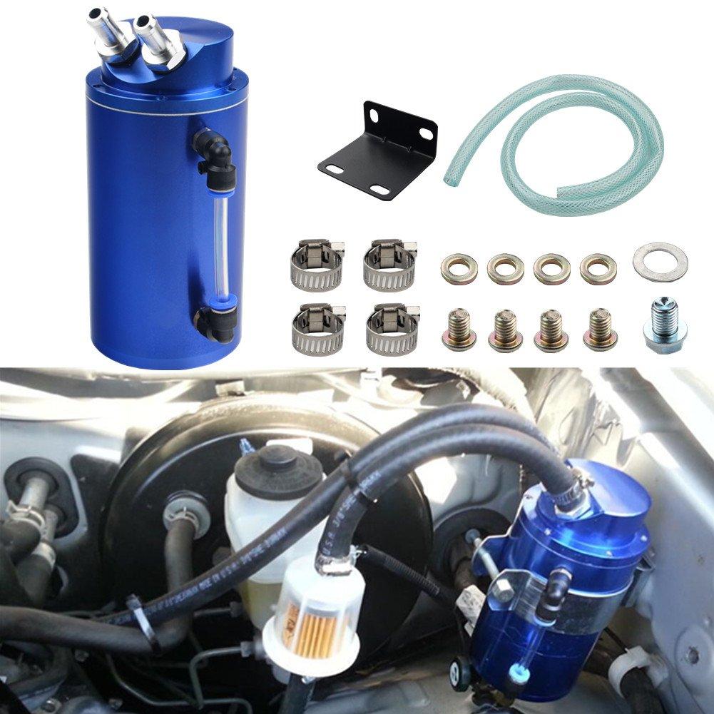 Dewhel Universal Cylindrical JDM 750ml Aluminum Engine Oil Catch Can Reservoir Tank (Blue)