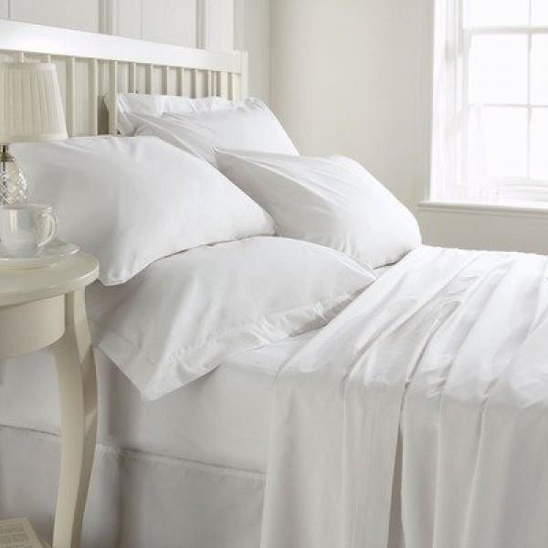 Twin Size Plain White Poly Cotton 180TC Flat Hospital Bed Sheet