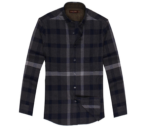 High Quality Cotton Casual Style Flannel Long Sleeve Plaid Shirt For Men