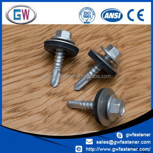 Hex Washer Head Rubber Bonded Roofing Screw for Metal