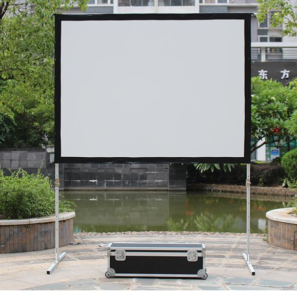 New design large portable cinema equipment outdoor aluminium quick folding alloy frame fast fold projection screen