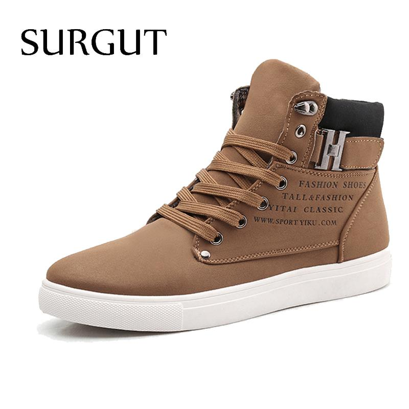 SURGUT Men Shoes 2016 Top Fashion New Winter Front Lace Up Casual Ankle Boots Autumn Sport