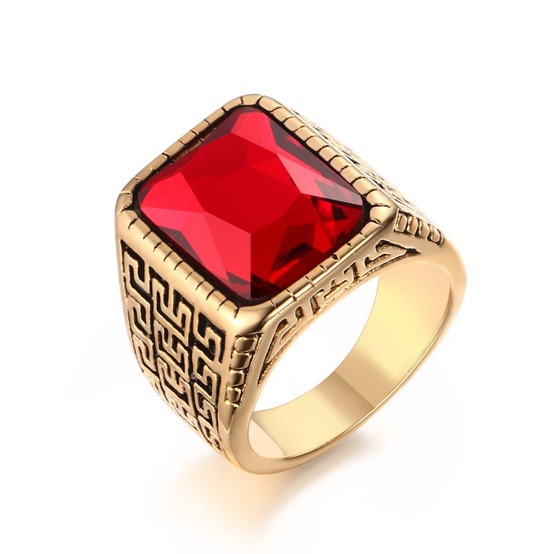 Yiwu Meise Stainless Steel The Great Wall Pattern Red Diamond Ring