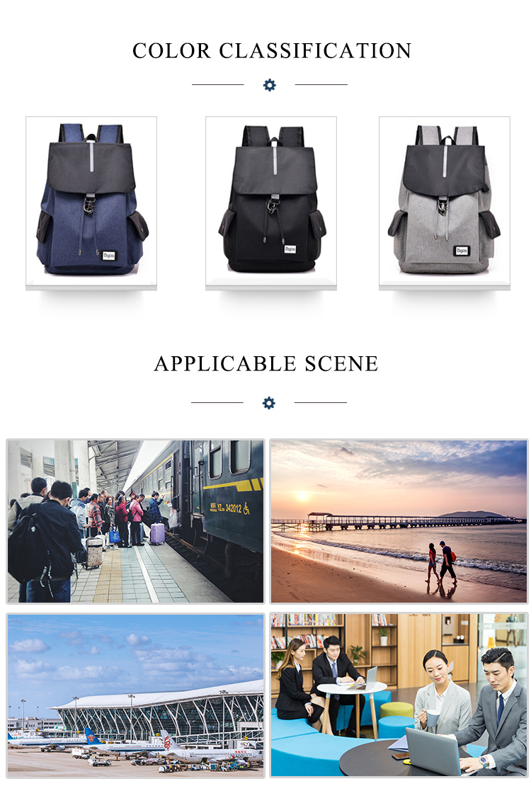 china factory supplier large capacity men's multifunction waterproof college school backpack with usb charging