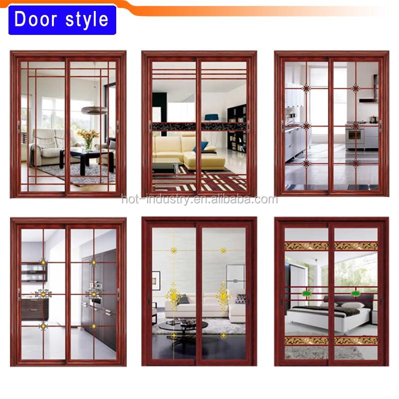 chinese knot pattern glass door light green aluminum bathroom door famous design single door